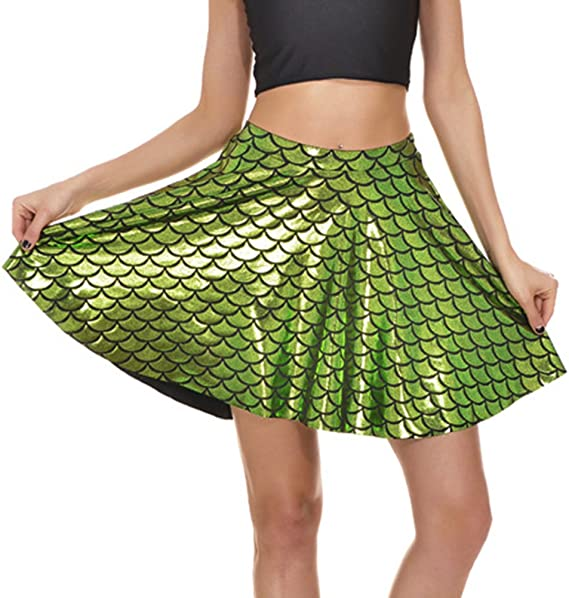 Mxssi Fish Scales Skirts Donna Party Cute Mermaid Mini Flared Skater Skirt