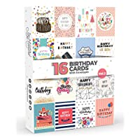 16 x Birthday Cards by Joy Masters™ Vol.2 | Multipack with ENVELOPES | Large Set for Men & Woman