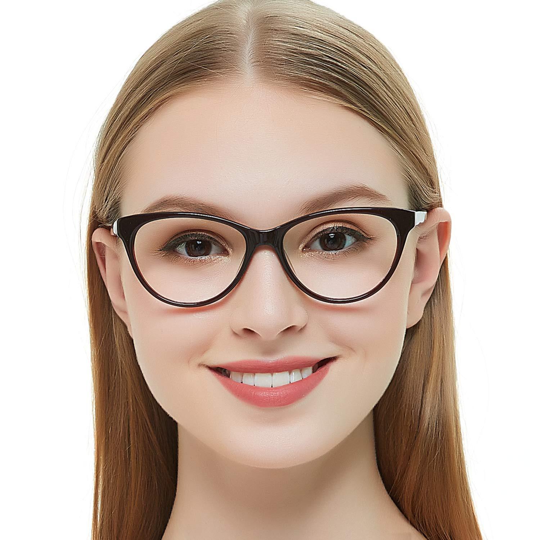 OCCI CHIARI Acetate Cateye Non-Prescription eyewear frame Optical Eyeglasses Women (Burgundy)