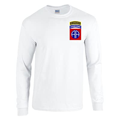 82nd Airborne RANGER Army Paratrooper White Long Sleeve Shirt USA