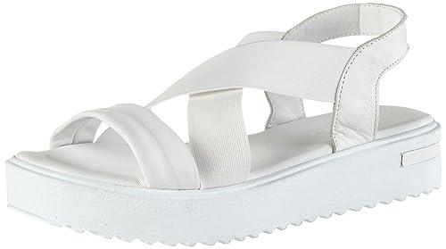 28219, Sandalias de Talón Abierto para Mujer, Blanco (White), 36 EU Tamaris