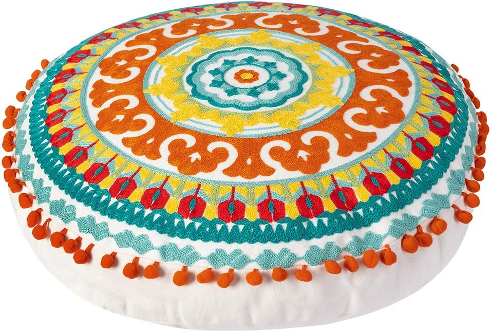 Embroidered Bohemian Round Floor Pillow, Ethnic Boho Cotton Cushion for Living Room Bedroom Balcony Yoga Room Car Office Outdoor, Home Decor Colorful Pouf Ottoman (18 inch Approx): Home & Kitchen