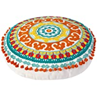 Embroidered Bohemian Round Floor Pillow, Ethnic Boho Cotton Cushion for Living Room Bedroom Balcony Yoga Room Car Office…