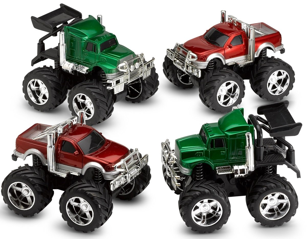 Amazon Com Pull Back Friction Monster Cars And Trucks 4 Pack 5