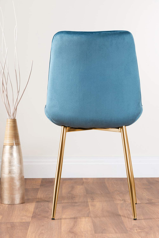 Möbellåda UK 2 x Pesaro sammet guld krom metall ben modern samtida matsal köksstolar set (2 x gröna pesaro guldstolar) 2x Blue Pesaro Gold Chairs