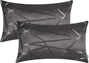 CaliTime Pack of 2 Pillow Covers Cases for Couch Sofa Home Decor Modern Shining & Dull Contrast Triangles Abstract Lines Geometric 12 X 20 Inches Grey