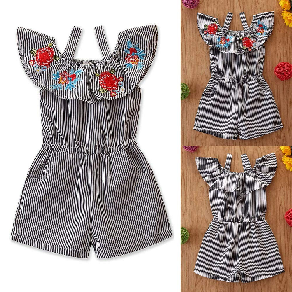 Toddler Baby Girl Floral Romper Bodysuit Kid Summer Stripe Ruffle Embroidery Jumpsuit Outfits Clothes