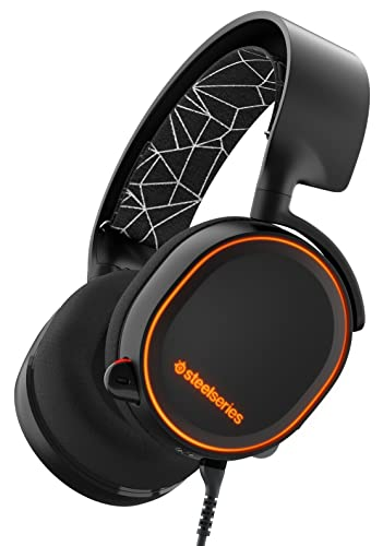 SteelSeries Arctis 5 RGB Illuminated Gaming Headset with DTS Headphone:X 7.1 Surround for PC, PlayStation 4, VR, Android and iOS - Black