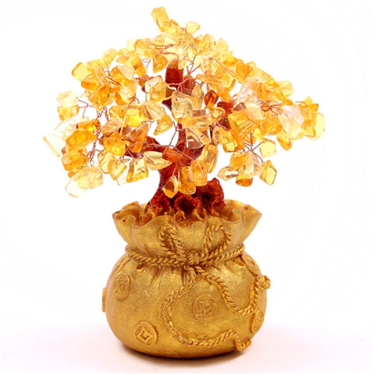Itian /Árbol del Dinero en una Bolsa Llena de Dinero para la Suerte de la Riqueza Ideal para Decorar Amarillo