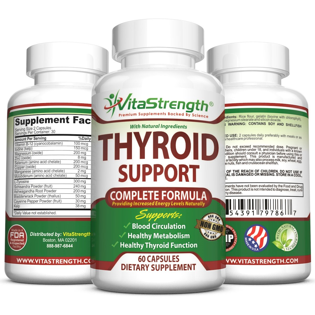 Thyroid Support - Complete Formula to Help Weight Loss & Improve Energy with Bladderwrack, Kelp, B12 & More- Thyroid Energy: Boost T4 to T3 Supplement by VitaStrength