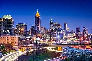 Atlanta Georgia Skyline Cityscape Illuminated at Night Landscape Photo Cool Wall Decor Art Print Poster 36x24
