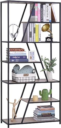 HOMCOM Modern Decorative Storage Shelf Bookcase Metal Frame