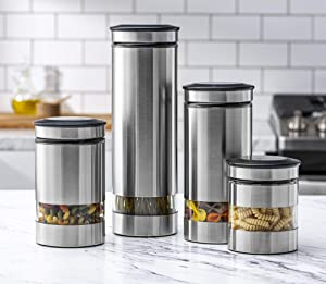Le'raze Airtight Food Storage Container for Kitchen Counter with Window, [Set of 4] Canister Set Ideal for Flour Tea, Sugar, Coffee, Candy, Cookie Jar