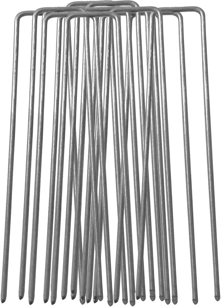 membrana paesaggio tessuto 100 x150mm multiuso a forma di U in acciaio galvanizzato Garden picchetti di fissaggio per fissarlo pacciamante 2.98 mm di spessore filo di acciaio zincato