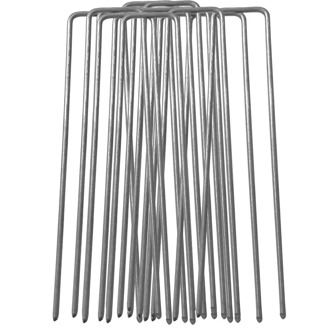 100 x 6''/150mm U-shaped multi-purpose galvanised steel Garden Securing Pegs for securing weed fabric, landscape fabric, netting, polythene membrane, ground sheets and fleece - Made of 2.98mm thick galvanised steel wire YM