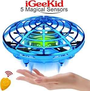 iGeeKid Kids Mini Drones Hand Operated Flying Toy Holiday Toy for Boys Age 3-14 Infrared Induction Helicopter Flying Ball with 360° Rotating and LED Lights Outdoor Sports Toy Kids Red