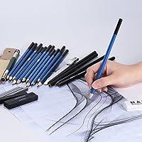 العدة الاحترافية لرسم السكيتشات بأقلام الرصاص، بما في ذلك أقلام الرسم بالجرافيت وأقلام الفحم، والمحايات، والبرايات، مع…