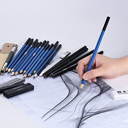 32pcs professional drawing sketch pencil kit sketch graphite charcoal pencils sticks erasers with carrying bag for