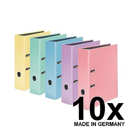 Ordner Farben.Original Falken 10er Pack Pastellcolor Ordner Made In Germany 8 Cm Breit Din A4 Pastell Farbe Farbig Sortiert Ringordner Aktenordner Briefordner