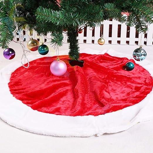 Falda de Árbol para Navidad Blanco Decoración Roja Vintage 120cm ...