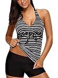 ZNCMRR Women's Stripe Tankini Top Bikini Swimwear with Brief Plus Size