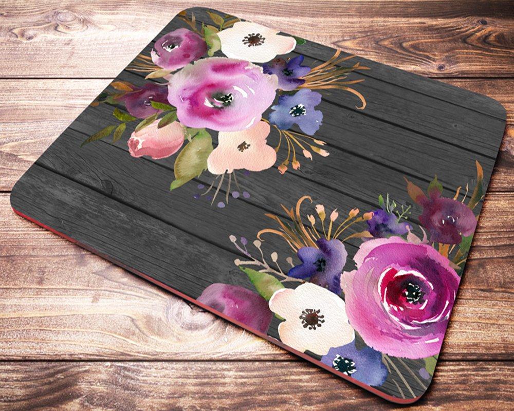 Floral Pink Flowers Mouse Pad Coworker Gifts Desk Accessories Womens Mousepad Office Gifts