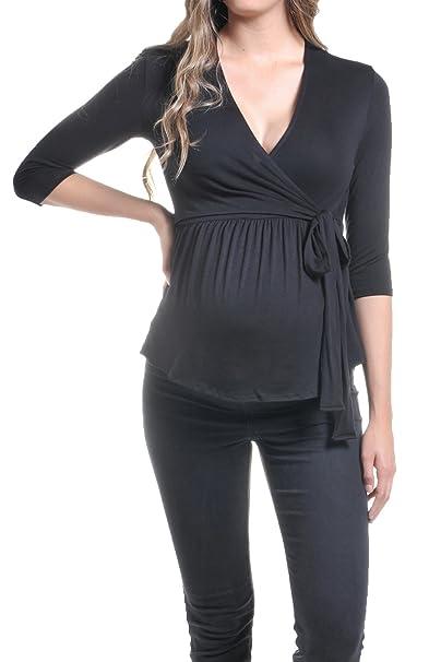 e3894d273de Beachcoco Women's Maternity Wrap-Front Nursing top Made in USA at ...