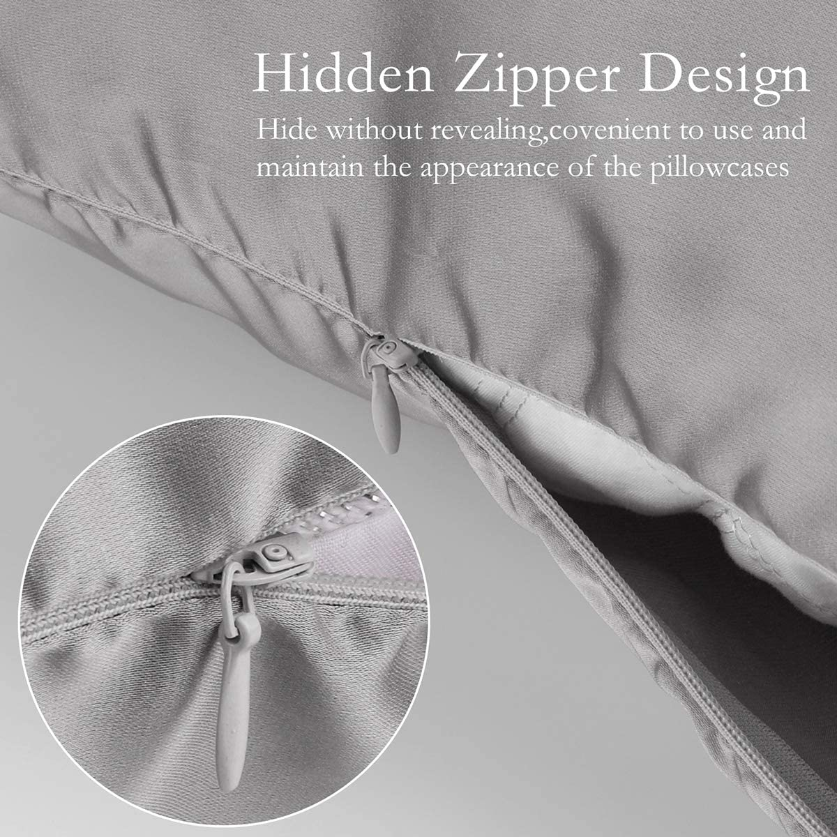 JOGJUE Silk Pillowcase for Hair and Skin 2 Pack 100% Mulberry Silk Bed Pillowcase Hypoallergenic Soft Breathable Both Sides Silk Pillow Case with Hidden Zipper, Standard Size Pillow Cases (Grey): Kitchen & Dining