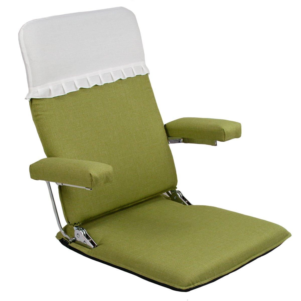 お座敷座椅子肘掛付ハイバック (カバー付) CBC313 グリーン 腰痛 日本製 リクライニング 姿勢 人気 肘掛け 和座椅子 B078J55T6V グリーン グリーン
