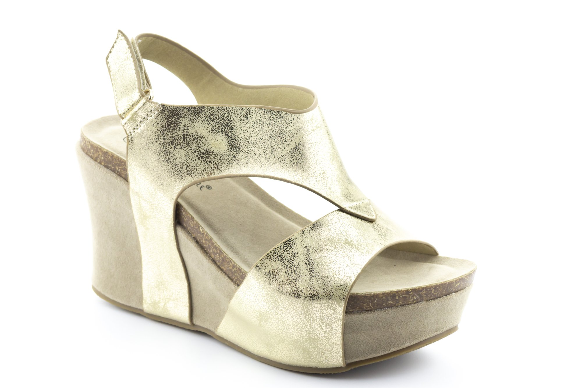CALICO KIKI TRUCE-CK02 Women's Wedge Sandal Platform Shoes Comfort Open Toe Velcro Ankle Strap (8 US Gold)