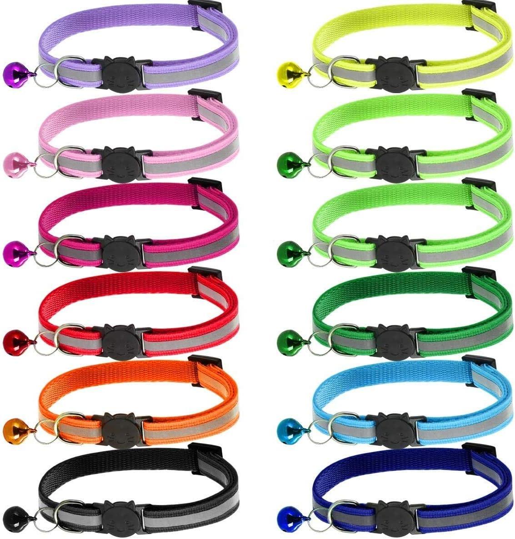 adecuados y ajustables para gatos dom/ésticos y gatitos m/ás grandes ANTERY 12 collares reflectantes para gatos de liberaci/ón r/ápida de seguridad con campana juego A