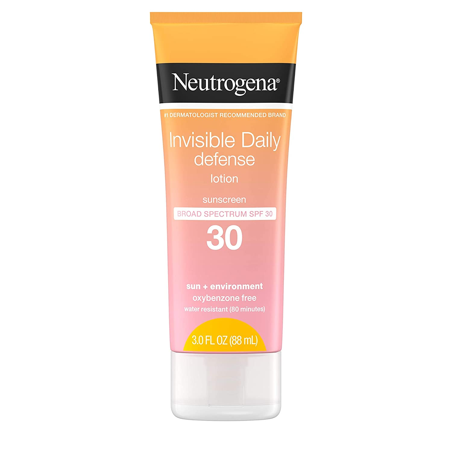 Neutrogena Invisible Daily Defense Sunscreen Lotion, Broad Spectrum SPF 30, Oxybenzone-Free & Water-Resistant, Sun & Environmental Aggressor Protection, Antioxidant Complex, 3.0 fl. oz