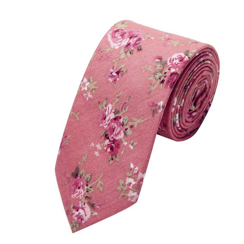 Ausky 4 Packs Cotton Floral Skinny Neckties for Men Boys in Different Flower (Floral B) by AUSKY (Image #5)