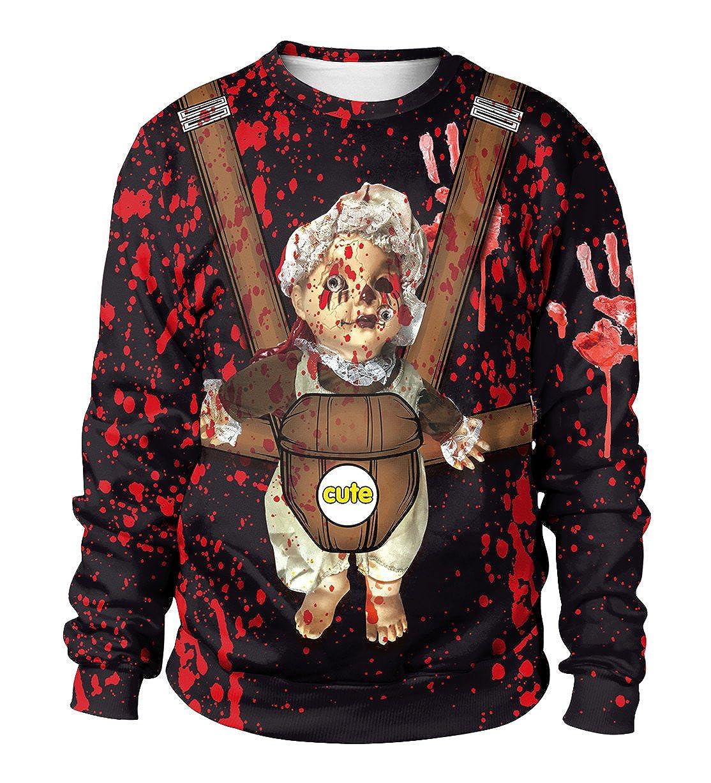 Ocean Plus Homme Sweat-Shirts Pull Imprim/é Num/érique Ras du Cou Th/ème dhalloween Sweatshirt de No/ël Pull Unisexe /à Manches Longues