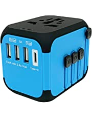 Jollyfit International Universal Travel Adapter USB Charger AC Power Wall Plug US UK AU EU Worldwide 150 Countries with Safe Fuse for Europe Asia Germany France Italy India China Russia American British European Adapter (3 USB and Type C, Blue)