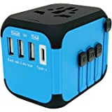 Jollyfit International Universal Travel Adapter Type C and 3 USB Charger AC Power Wall Plug US UK AU EU Worldwide 150 Countries with Safe Fuse for Europe Asia Germany France Italy India China Russia American British European Adapter (Black 3 USB and Type-C)
