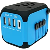 Jollyfit International Universal Travel Adapter Type C and 3 USB Charger AC Power Wall Plug US UK AU EU Worldwide 150 Countries with Safe Fuse for Europe Asia Germany France Italy India China Russia American British European Adapter