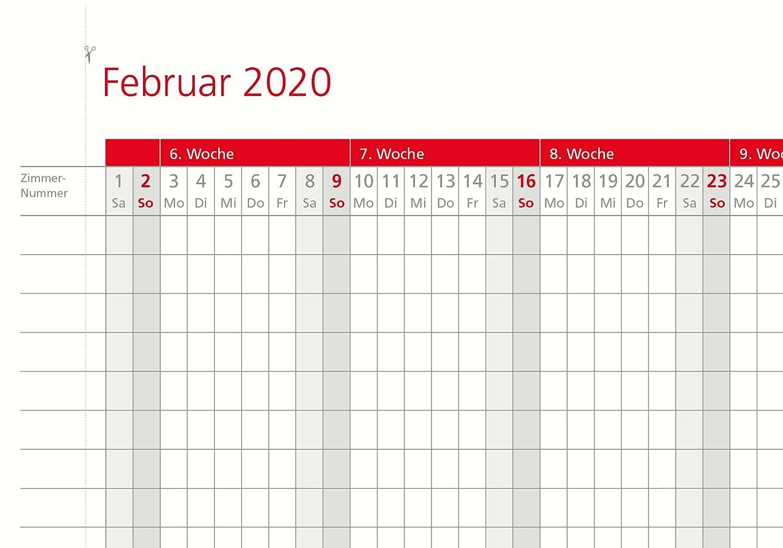 Zimmerbelegungsplan 2020 Sonn- und Feiertage in Rot Zimmerbelegungskalender 2020 Planer f/ür Hotels- und Ferienapartments Made in Germany