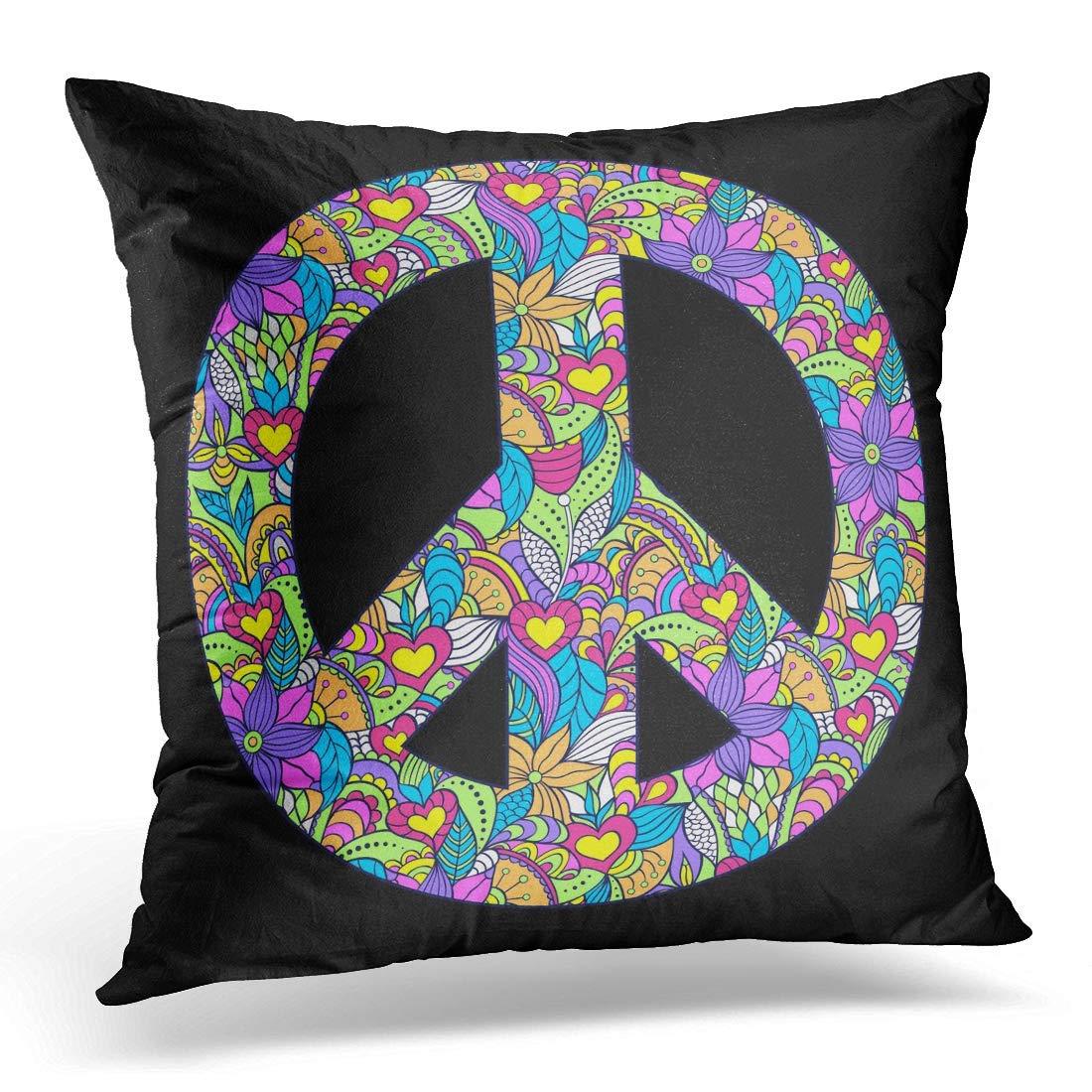 Funda de Almohada Throw Pillow Signo Azul del s/ímbolo de Paz Colorido en Hippie Verde Negro Funda de Almohada Decorativa Coj/ín para sof/á Dormitorio Coche 18x18 Pulgadas