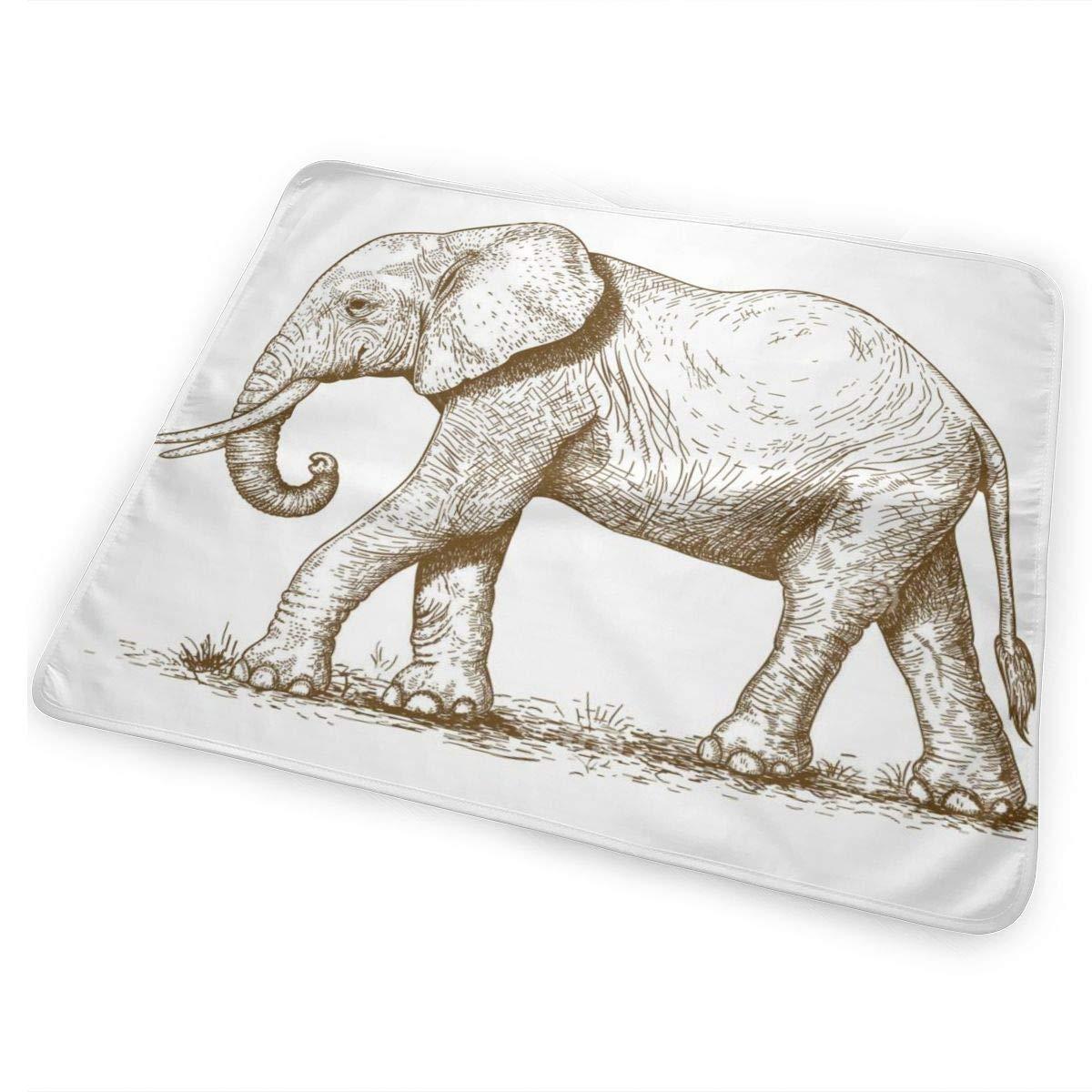 UBSOCKSG Elephant Drawing Print Reusable Changing Mat Portable Waterproof Diaper Changing Travel Home Change Mat Organizer Bag Newborn Multi-Function Storage Bag