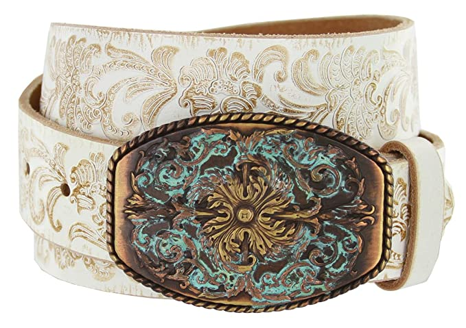 "Women's Western Tooled Full Grain Leather Jean Belt White 1.5"" Wide (White, 38)"