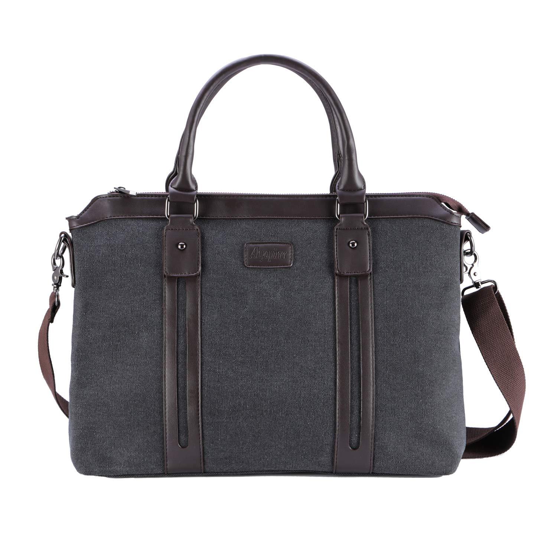Ahyapiner Business Canvas Shoulder Bag Large Handbag British Style Briefcase Laptop Bag