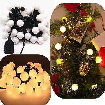 EJBOTH 5m Schnurlicht RGB weiße Kugel LED, Lichterkette RGB LED ...