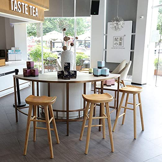Taburete cafeter/ía Taburete Cocina en casa Barra Altura de Asiento: 55//65//75 cm Sillas de Bar Reposapi/és Taburetes Altos de Madera Maciza cafeter/ía Desayuno