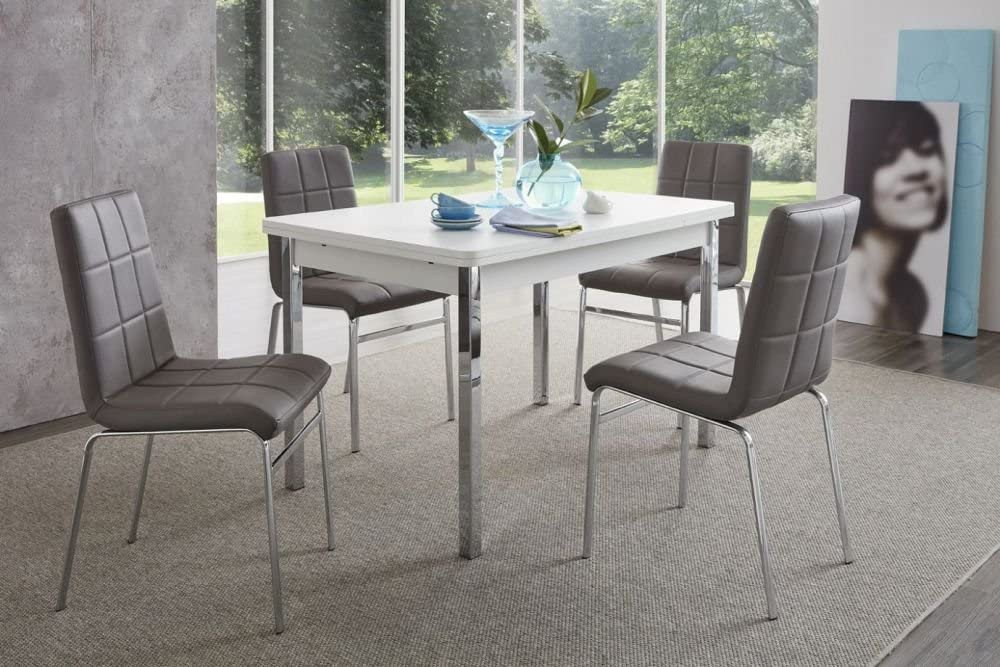 Beauty Scouts Morgan Island Dining Table Set 4 Chairs Table White Grey Modern Design 5 Pieces 4 Seater Extending Dining Set Amazon De Kuche Haushalt