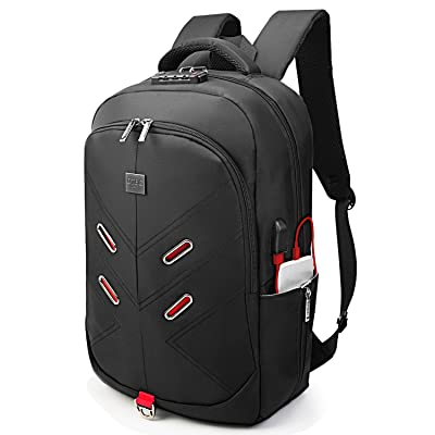 """17 Inch Laptop Backpack w/ TSA Lock USB Charging Port Headphone Hole Luggage Strap,DTBG Anti-theft Water Resistant Men Women Business Travel Bag College Backpack Fits Up to 17.3"""" Laptop Computer,Black well-wreapped"""