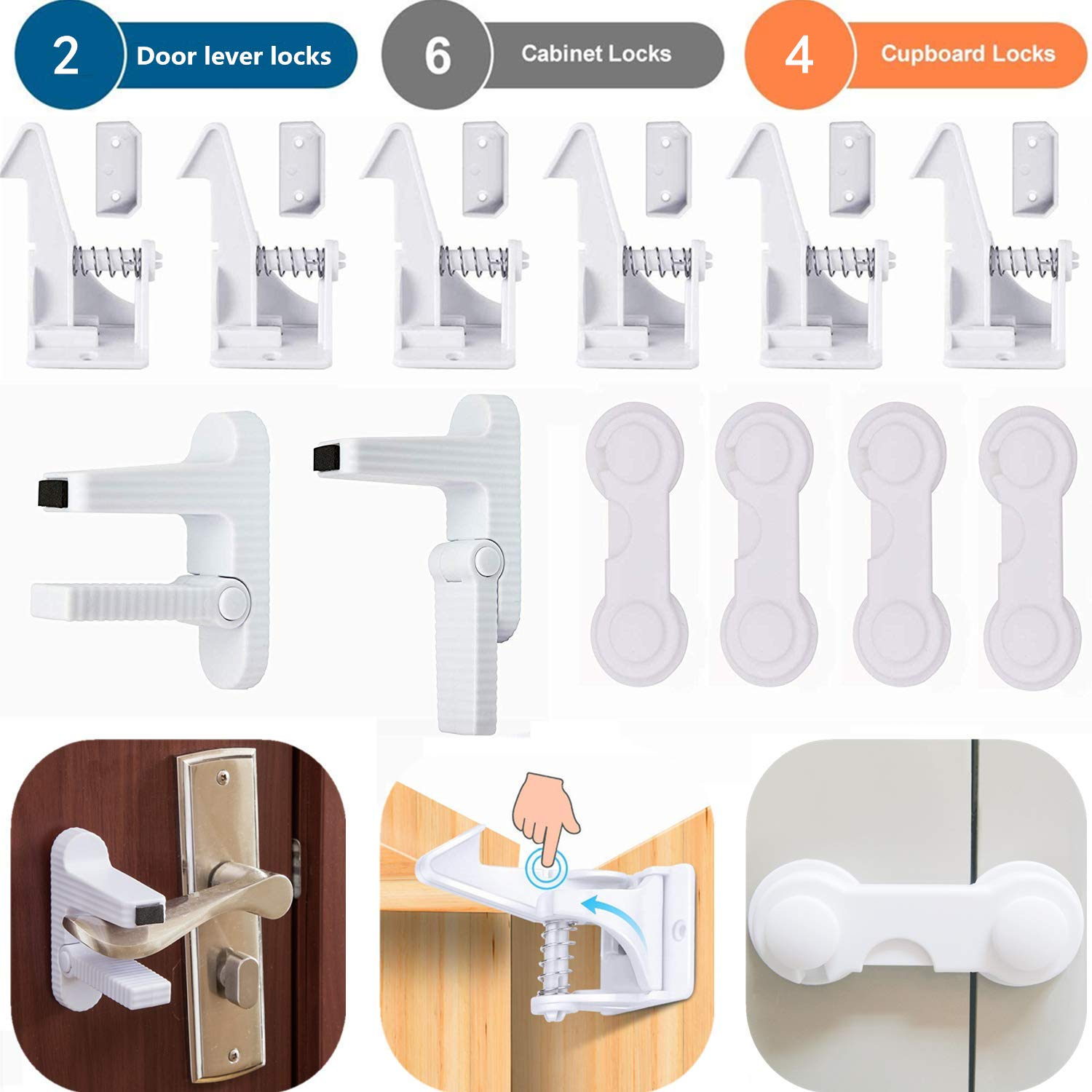 Child Safety Locks,2 Door Lever Handles Locks,4 Baby Safety Cabinet Latches Locks,6 Invisible Spring Cupboard Drawer Locks Child Proofing Equipment for Kitchen Home Bedroom Closets(12 Pack,White)