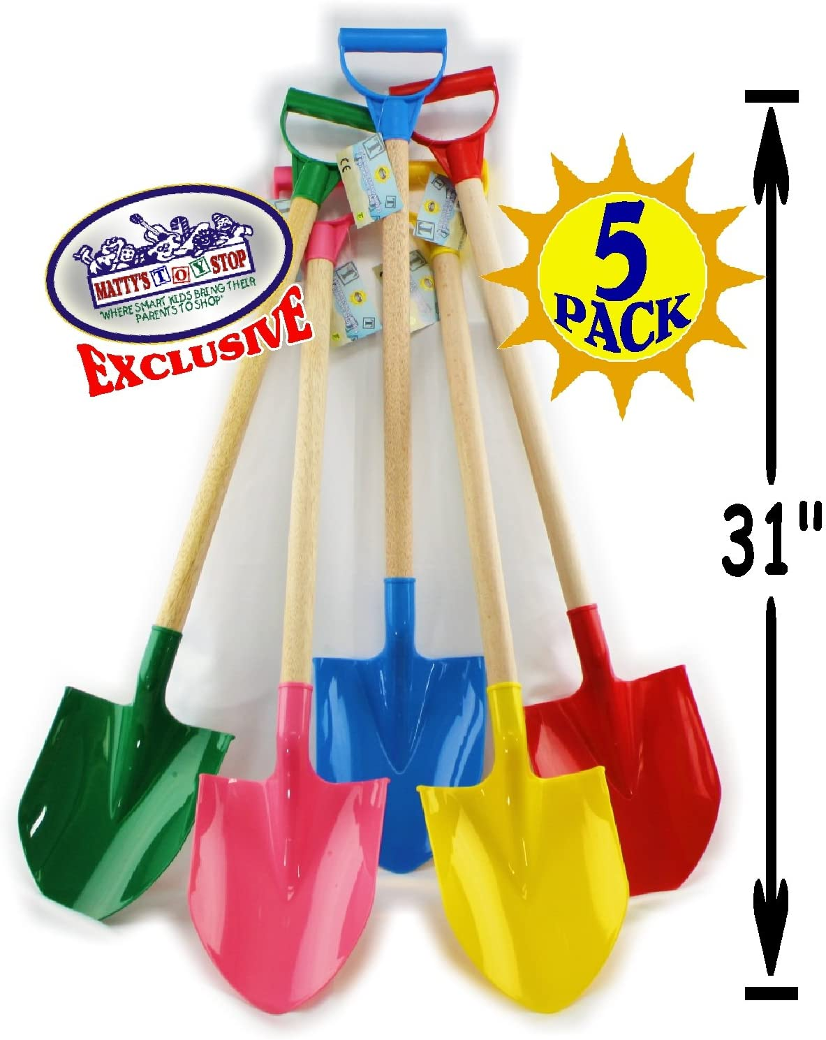 """Matty's Toy Stop 31"""" Heavy Duty Wooden Kids Sand Shovels with Plastic Spade & Handle (Red, Blue, Green, Yellow & Pink) Complete Gift Set Bundle - 5 Pack"""