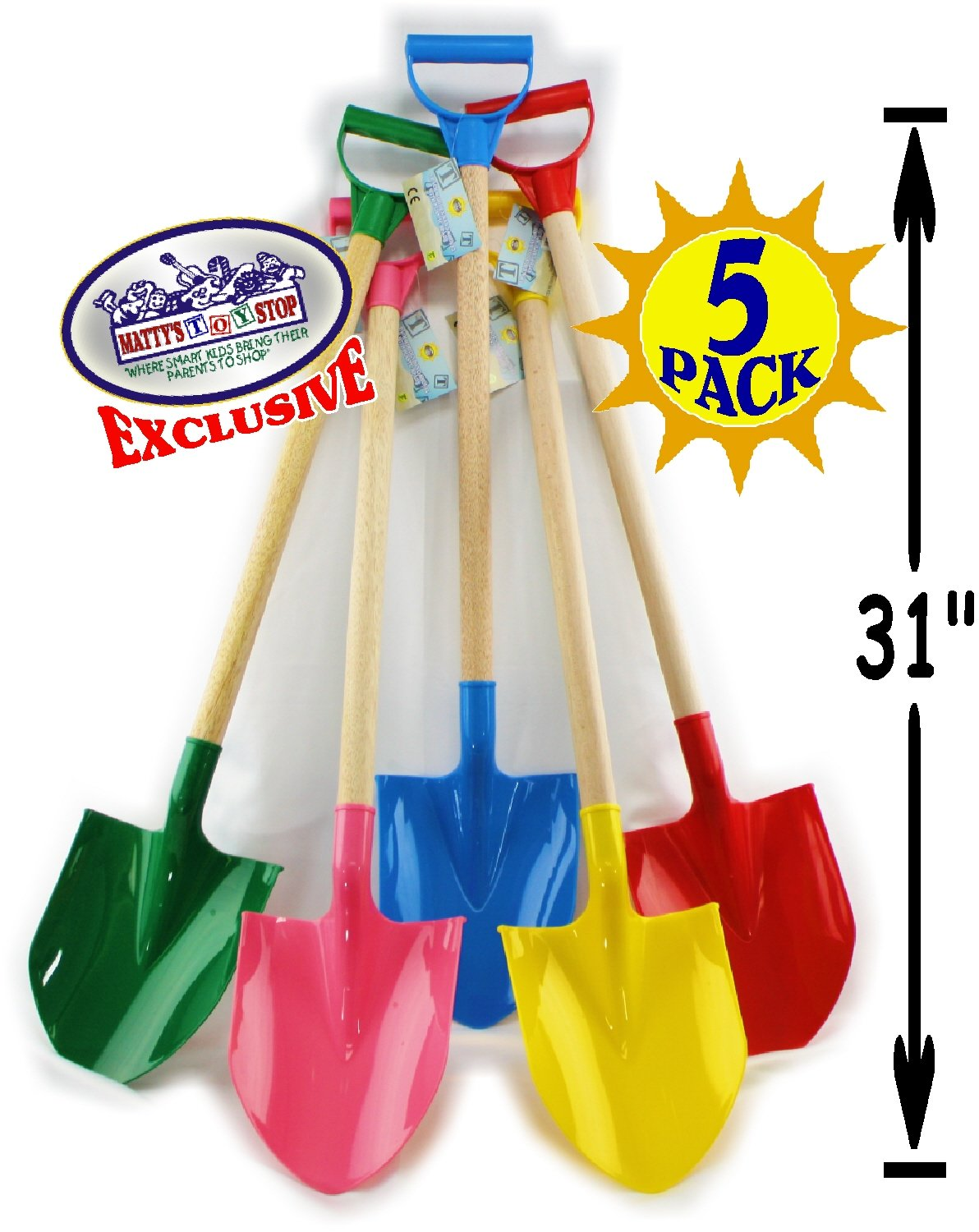 Matty's Toy Stop 31'' Heavy Duty Wooden Kids Sand Shovels with Plastic Spade & Handle (Red, Blue, Green, Yellow & Pink) Complete Gift Set Bundle - 5 Pack
