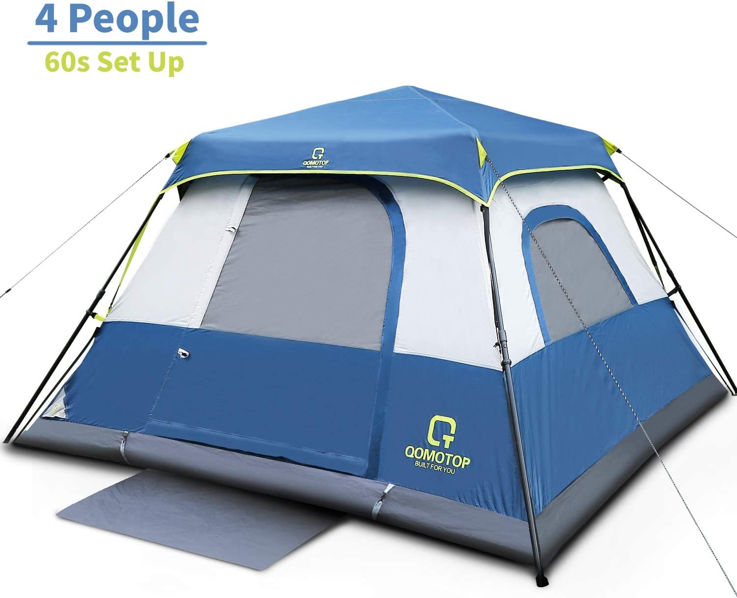 OT QOMOTOP Tents, 4/6/8/10 Person 60 Seconds Set Up Camping Tent, Waterproof Pop Up Tent with Top Rainfly, Instant Cabin Tent, Advanced Venting Design, Provide Gate Mat